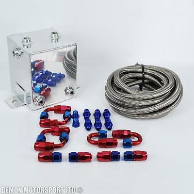 2 Litre Alloy Surge Tank Swirl Pot Kit (AN6 -6 6AN) With Braided Hose & Fittings