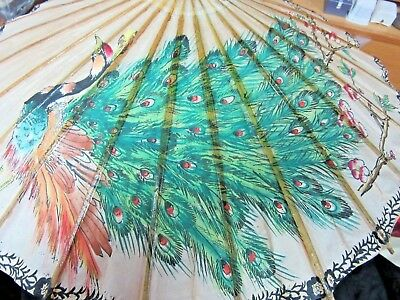 "Vintage Bamboo & Rice Paper Umbrella Parasol 22"" Across Peacock & Flowers"