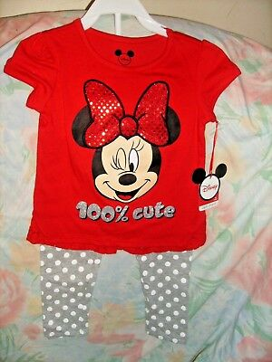 NEW Toddler girls 2pc Outfit by Disney, Size 3T, Minnie Mouse, Red, Pants NEW