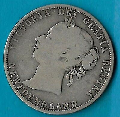 + 1885 Newfoundland NFLD 50c Silver Coin KM#6 Low Mintage 40,000 Rare