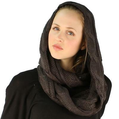 Winter Soft Pullover Cable Wide Knit Long Loop Infinity Hood Cowl Scarf Charcoal