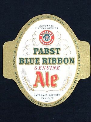 Pabst Blue Ribbon Ale IRTP Bottle Label 7oz Vintage PBR NOS Mint