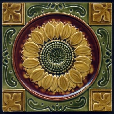 TH3183 Rare Mintons High Relief Embossed & Impressed Sunflower Tile c.1893