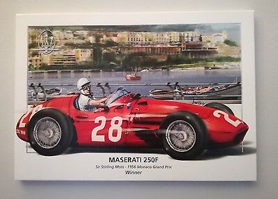 Maserati 250F Official Painting Stirling Moss Monaco 1956 Limited Series New