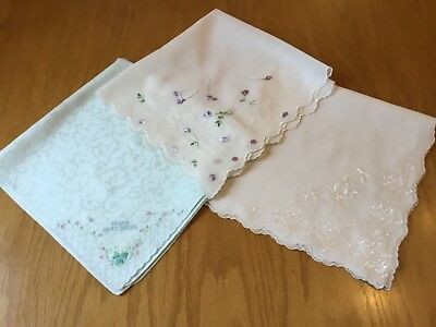 "Unused Trio Of Vintage ""Designer"" Embroidered Cotton Hankies.  Nina Ricci Etc. ="