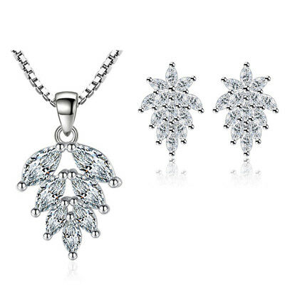 Crystal Pendant Chain Necklace 925 Sterling Silver Stud Earring Womens Jewellery