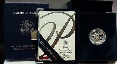 {BJSTAMPS} 2004 W 1/4 oz $25 Platinum EAGLE Proof w/ box & COA KEY only 5,193
