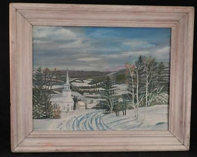 Antique~Vintage Folk Art Primitive Oil Painting~New England Rural Landscape~SGND