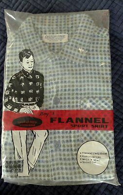 Vintage 1960s Boys Flannel Shirt Houndstooth Check Blue Sz 8 NIP Rayon Cotton
