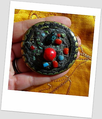 Antique Large Metal Bead with Turquoise & Red Coral Necklace Centre Piece Nepal