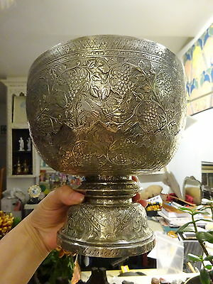 Vtg Chased Repouse Chinese Hallmark Large Silver Bowl on Pedestal Indochina Asia