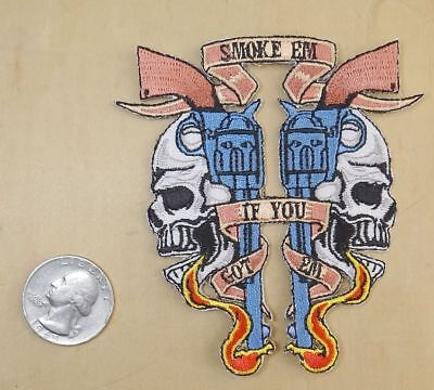 "Smoke Em If You Got Em 6 Guns Iron-On Sew-On Embroidered Patch 3 1/4 ""x 3 1/2 """