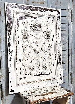 Shabby Hand Carved Wood Panel Antique French Farmhouse Country Style Carving 1