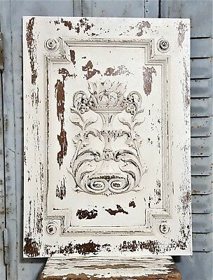Solid Shabby White Hand Carved Wood Panel Antique French Farmhouse Country Style