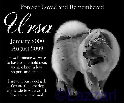 """Personalized Chow Chow Dog Pet Memorial 12""""x10"""" Granite Grave Marker Headstone"""