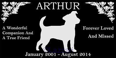 "Personalized Jack Russell Terrier Dog Pet Memorial 12""x6"" Grave Marker Headstone"