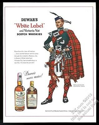 1954 Clan Wallace tartan bagpipes piper Dewar's Scotch Whisky vintage print ad