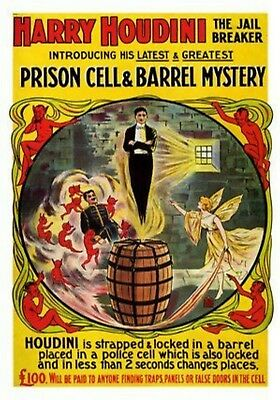 MAGNET Poster PHOTO Magnet HARRY HOUDINI 1920s Prison Cell and Barrel Mystery