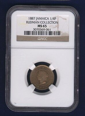 Jamaica  1887  1 Farthing Coin, Choice Uncirculated, Ngc Certified Ms-65