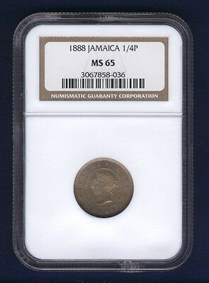 Jamaica  1888  1 Farthing Coin, Choice Uncirculated, Ngc Certified Ms-65