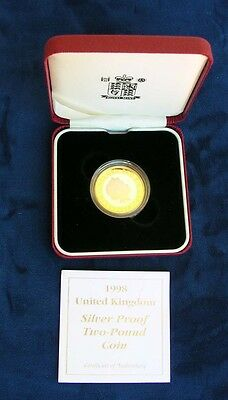 England Elizabeth Ii  1998   2 Pounds Proof Silver Coin, With Original Box