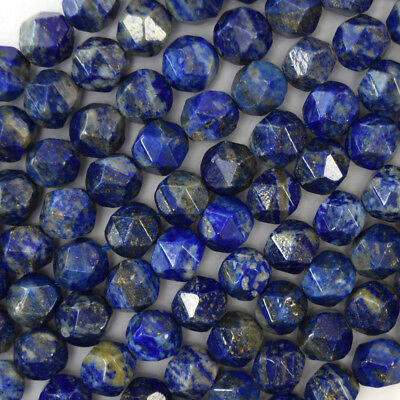 """Natural Star Cut Faceted Blue Lapis Lazuli Round Beads 15.5"""" Strand 6mm 8mm 10mm"""
