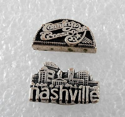 Vintage Nashville & Country Crossroads Plaque Pair Silver Metal Embossed