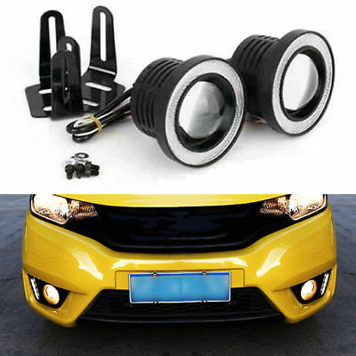 "2pcs 3.5"" COB LED Fog Light Projector Car White Angel Eye Halo Ring DRL Lamp new"