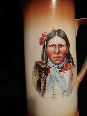 Antique Native American Image Pitcher Tankard 1900  Great detail.