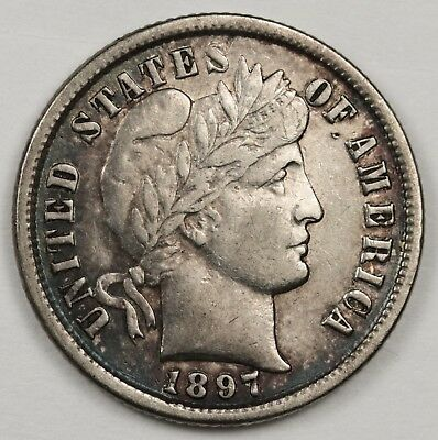 1897 Barber Dime. Pretty Iridescent toning Obverse and Reverse.  A.U.  122250