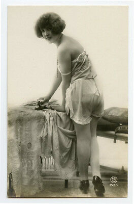 1920s French Risque n/ Nude LINGERIE FLAPPER photo postcard