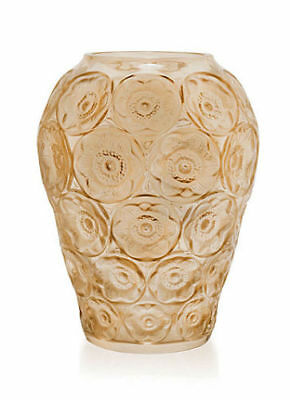 Lalique  Anemones Vase Gold Luster Crystal mint in box