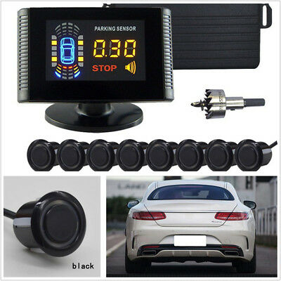 12V Car LCD Parking 8 Black Sensor Reverse Backup Alarming System Radar Detector