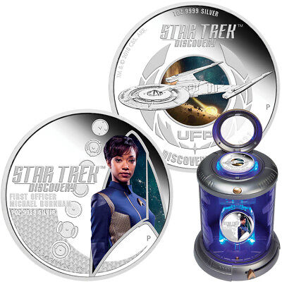 Tuvalu 2x 1 Dollar 2018 Star Trek Discovery First Officer Burnham 1 Oz Silber PP