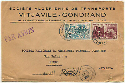 TUNISIA, AIR MAIL FROM TUNIS TO GENOVA, 1959, STAMPS 20M + 30F                 m
