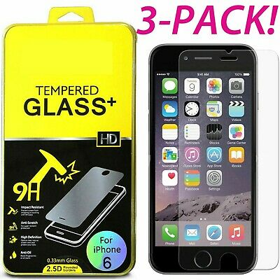 3-PACK Real Screen Protector Temper Glass Protective Film For iPhone 6 7 6S Plus