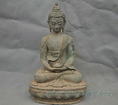 China Old Tibetan Buddhism Shakyamuni Sit Buddha Bronze Statue 20cm