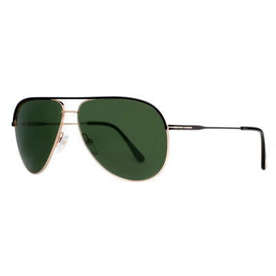 33ad155f21 TOM FORD ERIN TF 466 05N Black Gold Green Aviator Sunglasses ...