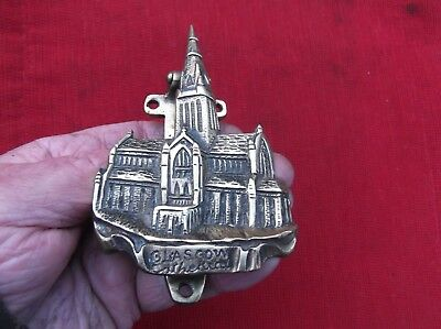Antique Large Heavy Brass Glasgow Cathedral Door Knocker/city Of Glasgow Church