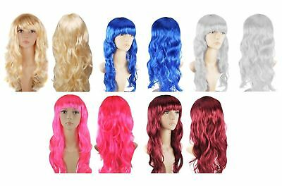 Womens Ladies Long Wavy Curly Fancy Dress Cosplay Anime Wig Pop Party Costume
