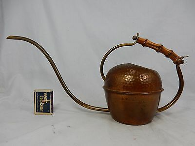 Well shaped 50´s design copper watering can / Gießkanne bamboo handle 600 ml