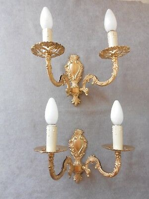 Pair Vintage French solid Brass WALL LIGHT Lamp SCONCES