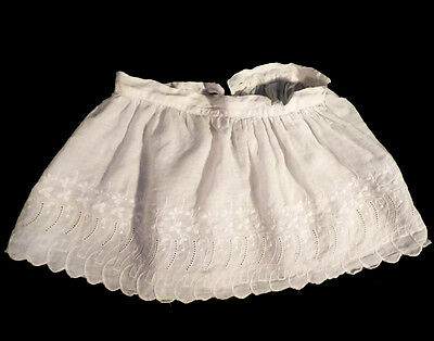 Vintage Little Girl's Button On White Eyelet Embroidered Skirt Pinafore Sz 5-6?