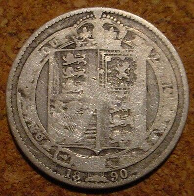 Old British Victorian Sterling.925 Shilling 1890 Great Britain**  *