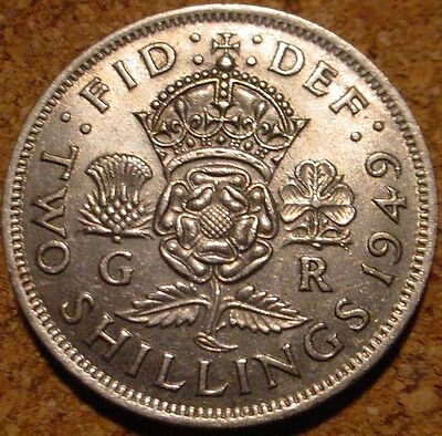 **hi Grade 1949 2 Shillings(Florin) Great Britain**superb Detailed Coin** Coin