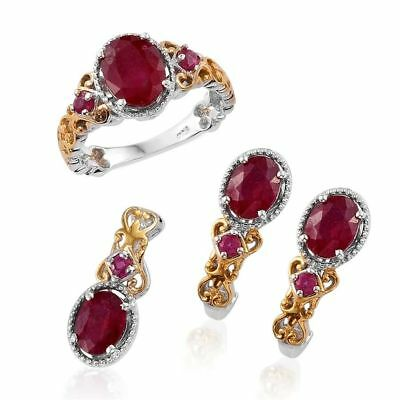 Ruby Ring, Pendant, Stud Earrings Platinum, Yellow Gold Overlay Silver 8.5 Ct
