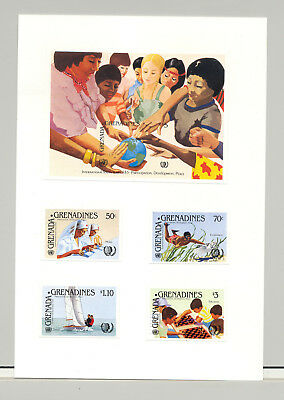 Grenada Grenadines #647-651  Youth Year 4v & 1v S/S Imperf Proofs on Card