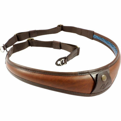 4V Design ALA TOP Leather Ring Fit Camera Neck Strap in Brown/Brown