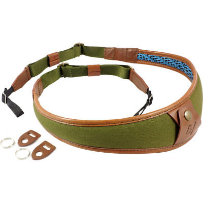 4V Design ALA Canvas and Leather Universal Fit Camera Neck Strap in Green/Brown