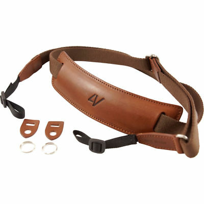 4V Design Large Leather & Cotton Lusso Camera Neck Strap in Brown/Brown